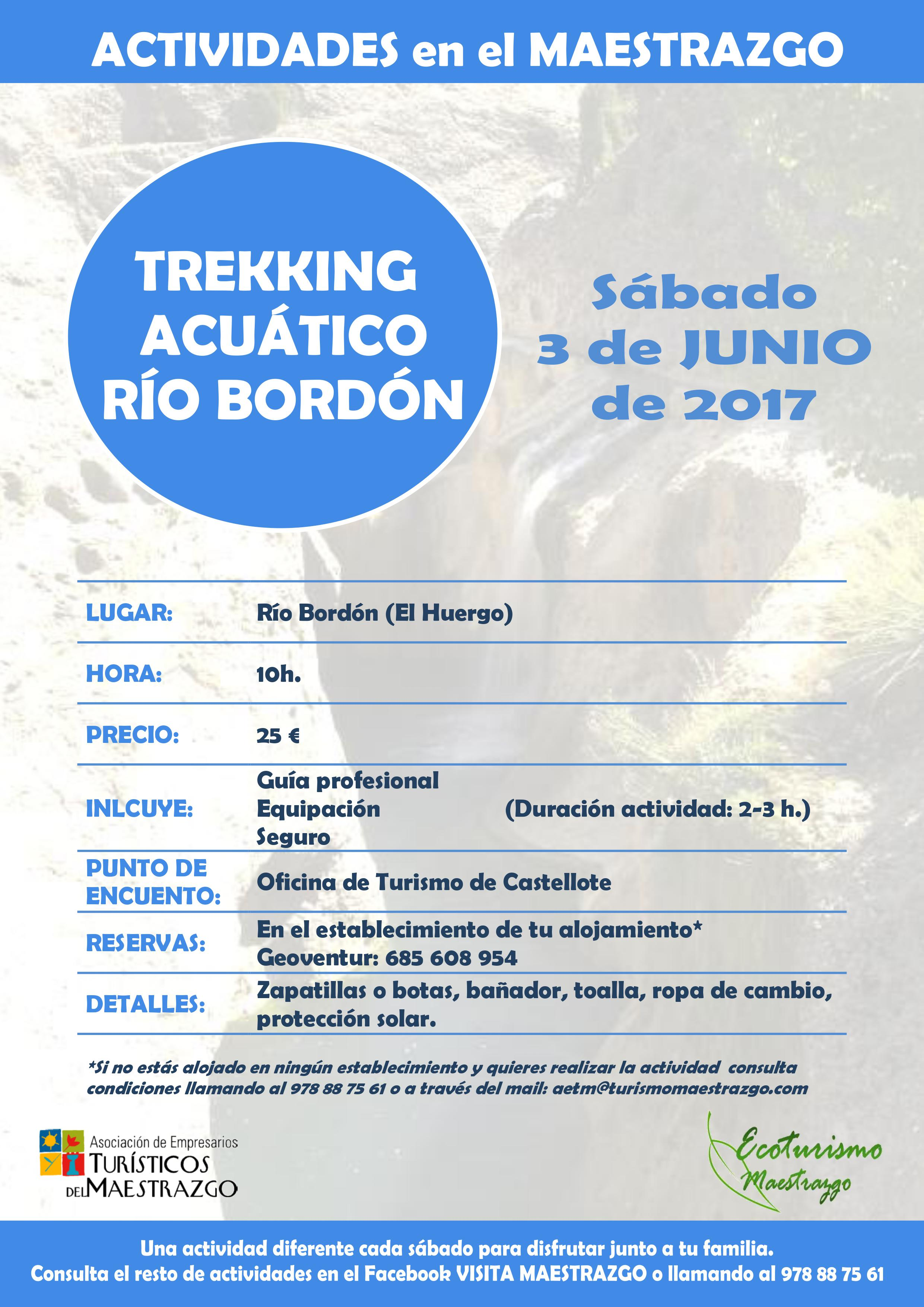 trekking acuático Río Bordón